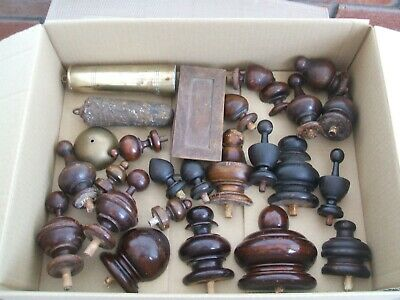 £6.50 • Buy Antique / Vintage Wooden Job Lot Of 22 Clock Case Finial Knobs And Parts