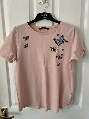 £0.99 • Buy M&S Collection Womens Pink Embroidered Butterfly Detail T Shirt Top Size 10