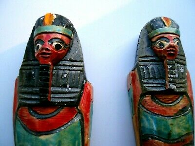 £143.89 • Buy Rare National Egyptian Museum Stone Sarcophagus's W/Carved Inserts For Treasures