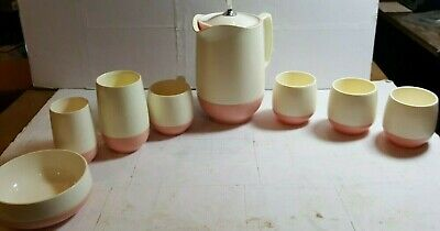 $29.94 • Buy 8 MCM Bopp Decker Vacron Vacuum Bowls Cereal Soup Pitcher USA  Pink Insulated