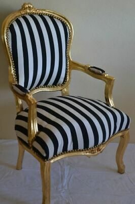 £119 • Buy Louis Xv Arm Chair French Style Chair Vintage Furniture Black  White Gold Wood