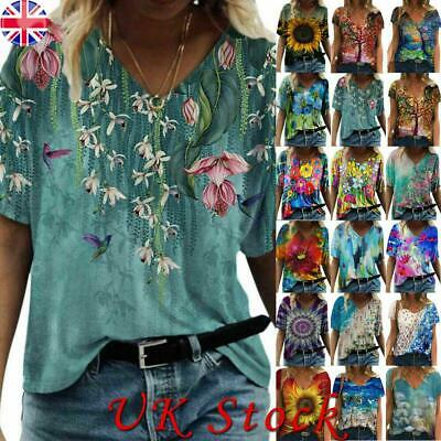 £9.11 • Buy BOHO Womens Floral Printed Short Sleeve Casual T Shirt Ladies V-neck Blouse Tops