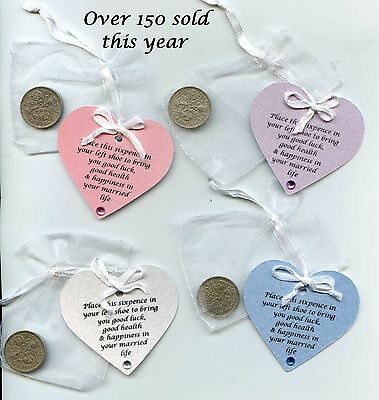 £2.05 • Buy Lucky Sixpence For Bride's Wedding Day. Choice -White Blue Pink Lilac. Keepsake