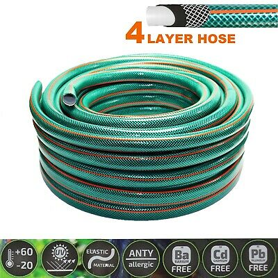 £11.99 • Buy Garden Hose Pipe 4-LAYER Hosepipe STRONG REINFORCED Outdoor 1/2  3/4  20 30 50 M