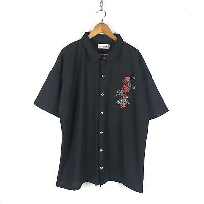 £30 • Buy Vintage Embroidered Chinese Dragon Shirt Size 2XL Black