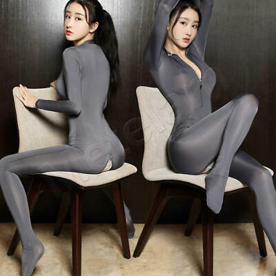 £9.99 • Buy Sexy Zip Front & Crotch Stretchy Bodysuit Sheer Shiny Catsuit Nightclub Jumpsuit