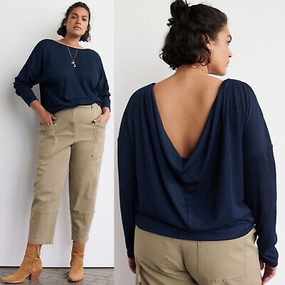$ CDN50.34 • Buy Anthropologie Blue Ribbed Pullover XL