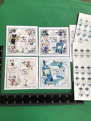 £2.99 • Buy Set Of 4 Handmade Gin Themed Card Toppers With Sentiments