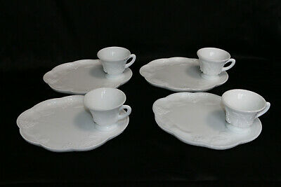$24.99 • Buy White Milk Glass Indiana Colony Harvest Grape Luncheon Snack Plates Cups 4 Set