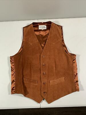 $29.99 • Buy Men's Scully Button Front Leather Western Cowboy Vest Size 42 Brown