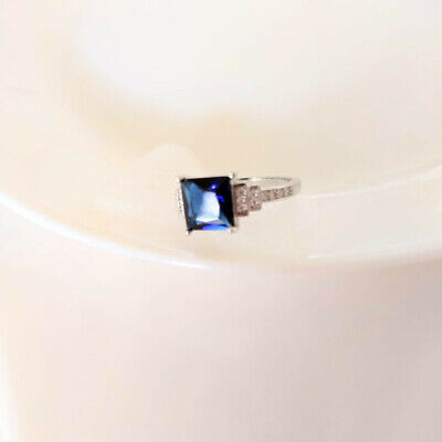 $ CDN35.25 • Buy QVC Diamonique Epiphany Platinum Clad Simulated Sapphire And Pave Ring - Size 9