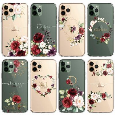 £5.99 • Buy RED Floral PERSONALISED CLEAR Initials Name Phone Case Cover For IPhone Samsu...