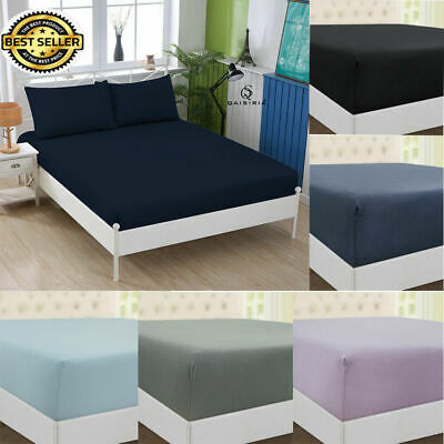 £11.50 • Buy Extra Deep 30cm JERSEY Cotton Fitted Sheet Bed Single Double King Sup.King Size