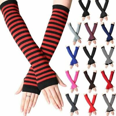 AU8.62 • Buy Fingerless Long Gloves Stretchy Womens Sexy Knitted Wrist Arm Warmer Protection