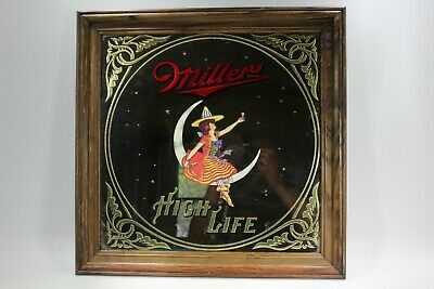 $79.89 • Buy Vintage 1984 Miller High Life Mirror Women On Half Moon 19  By 19  See Pictures