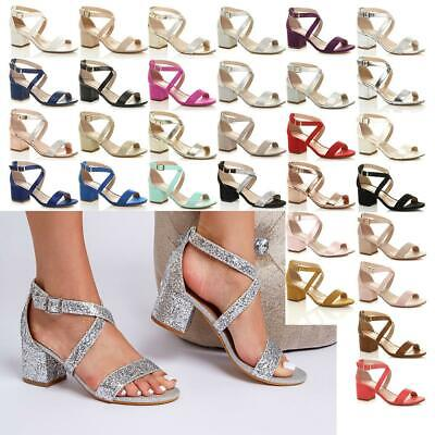 £15.99 • Buy Ladies Mid High Heels Strappy Wedding Bridal Party Evening Sandals Comfy Shoes