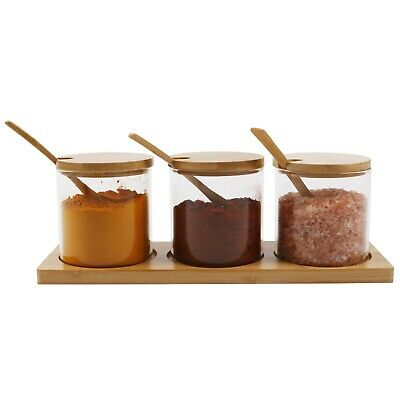 £13.80 • Buy ORNAMI Set Of 3 Clear Glass Jars With Natural Bamboo Lid, Spoon And Bamboo Stand
