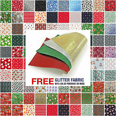 £4.19 • Buy Christmas Polycotton Fabric Material - Eighty Patterns Sold Per Metre 112cm Wide