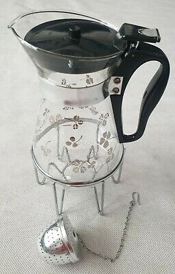 £19.99 • Buy Vintage Mid-Century Pyrex Tea Coffee Pot With Diffuser And Warming Stand 1960s