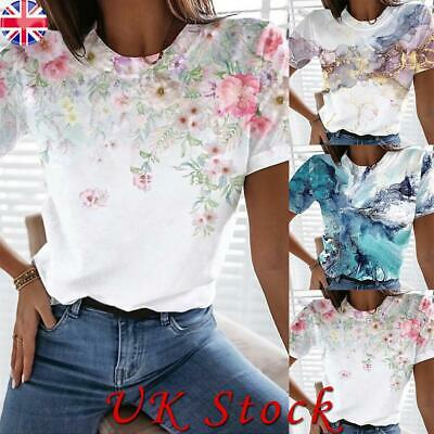 £8.31 • Buy Summer Womens Casual Tops Short Sleeve Floral Round Neck T-shirt Ladies Blouse