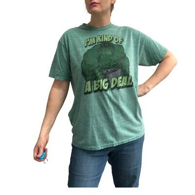 £12 • Buy Incredible Hulk T-Shirt Size L Green Baggy Top I'm Kind Of A Big Deal Cotton Tee