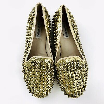 £14.42 • Buy Steve Madden Womens 8.5 Shoes Gold Glitter Studded Studlyy Flats Loafers Spiked