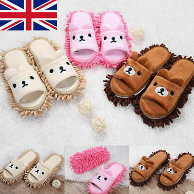 £9.49 • Buy Cute Bear Mop Slippers Lazy Floor Foot Socks Shoes Quick Polishing Cleaning Dust