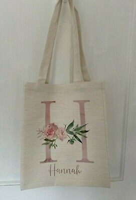 £5.95 • Buy Personalised Floral Letter/name Cream Canvas Tote Bag Bridesmaid/teacher Gift