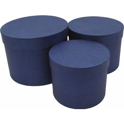£11.49 • Buy Midnight Blue Hat Box Set Of 3 For Flowers Gifts NO WATERPROOF LINERS UK Stock