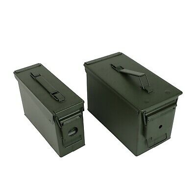 $36.99 • Buy 30 And 50 Cal Metal Gun Ammo Can 2-Pack – Military Steel Box Set Ammo Storage