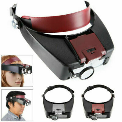 £11.52 • Buy Durable Magnifying Glass Led Light Head Headband Visor Magnifier Loupe With Box