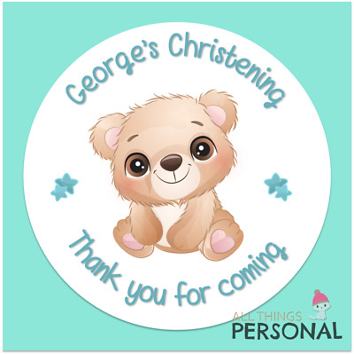£3.49 • Buy Personalised Christening Day Stickers Party Bag Sweet Cone Seals Thank You Boys