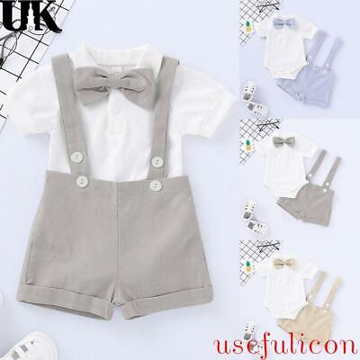 £10.19 • Buy Newborn Baby Boys Bow Tie Romper Shorts Formal Summer Outfit 2Pcs Gentleman Sets