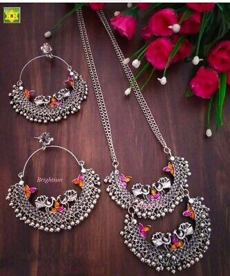 £9.99 • Buy ASIAN Silver Oxidised Ethnic Tribal Costume NECKLACE CHOKER JEWELLERY- Pink