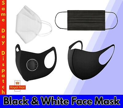 £3.99 • Buy Pack 5/10 Face Mask Black Reusable Washable Breathable Dust Mouth Cover CHEAP UK