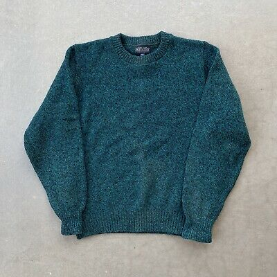 $34.95 • Buy LANDS END Crewneck Wool Knit Sweater Made In USA Green Men's Large L