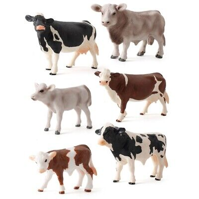 £5.73 • Buy Toy Simulated Animal Figurines Plastic Models Cow Action Figure Miniatures Cows