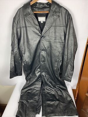 $157.50 • Buy NWT Wilsons Leather M Julian Black Leather Long Trench Duster Jacket Coat Sz L