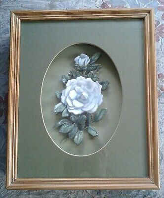 £2.99 • Buy 3D Decoupage Pale Blue Rose Flower Picture In Shadow Box Framed 11  X 9