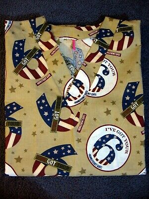 $16.99 • Buy Military I've Got Your Six Patriotic Handmade  Cotton Scrub Top Size Small 30-32