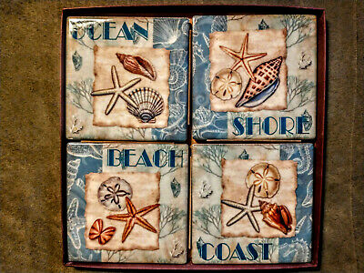 $29.75 • Buy Lot Of (4) Nautical Ceramic Coasters Durably Coated - New In Box
