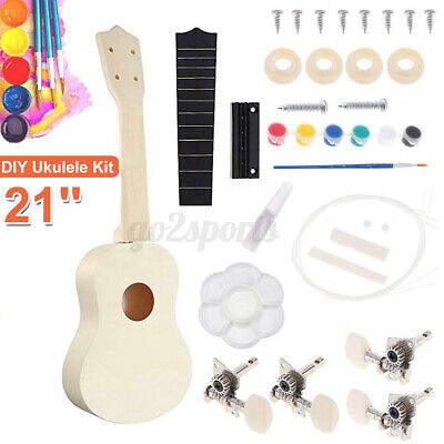 AU15.49 • Buy 21 Inch Ukulele 21  DIY Paint Kit Basswood Build Your Own With Full Accessories