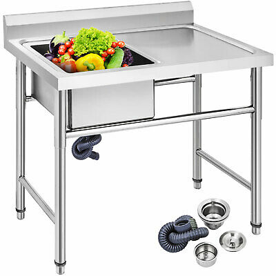 £190.61 • Buy Commercial Stainless Steel Catering Kitchen Sink 1 Bowl With Right Platform