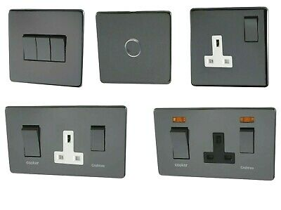 £19.99 • Buy Crabtree Black Nickel Electrical Switch Socket Cooker Control Dimmer Flat Plate