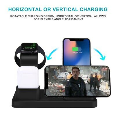 AU31.01 • Buy 3in1 Qi Wireless Charger Fast Charging Dock Stand For Airpods Apple IPhone Watch