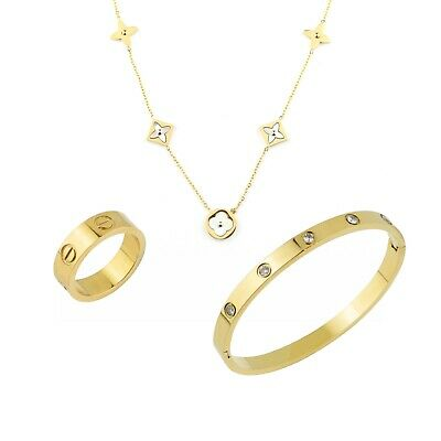 £15.98 • Buy Women Rose /Gold Plated Love Bangle, Ring & Necklace Her Gift Sets