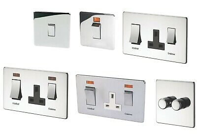 £8.99 • Buy Crabtree Polished Chrome Switch Socket Cooker Control Dimmer Flat Plate