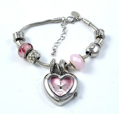 £13.95 • Buy Henley Ladies Pink Valentine Love Heart Charm Watch & Removable Beads Bracelet