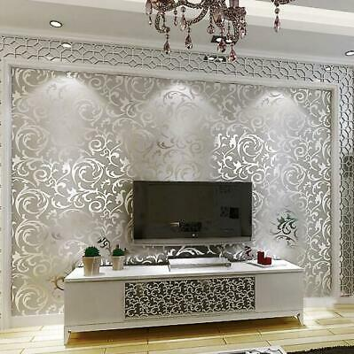 £6.50 • Buy Luxury Silver Wallpaper Metallic Victorian Damask Wall Cover Wall Paper