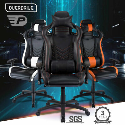 AU249 • Buy Gaming Chair / Racing Computer PC Office Seat Reclining Footrest Black OVERDRIVE